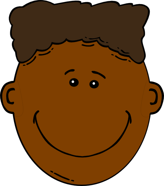 Black boy with flattop. Clipart smile large
