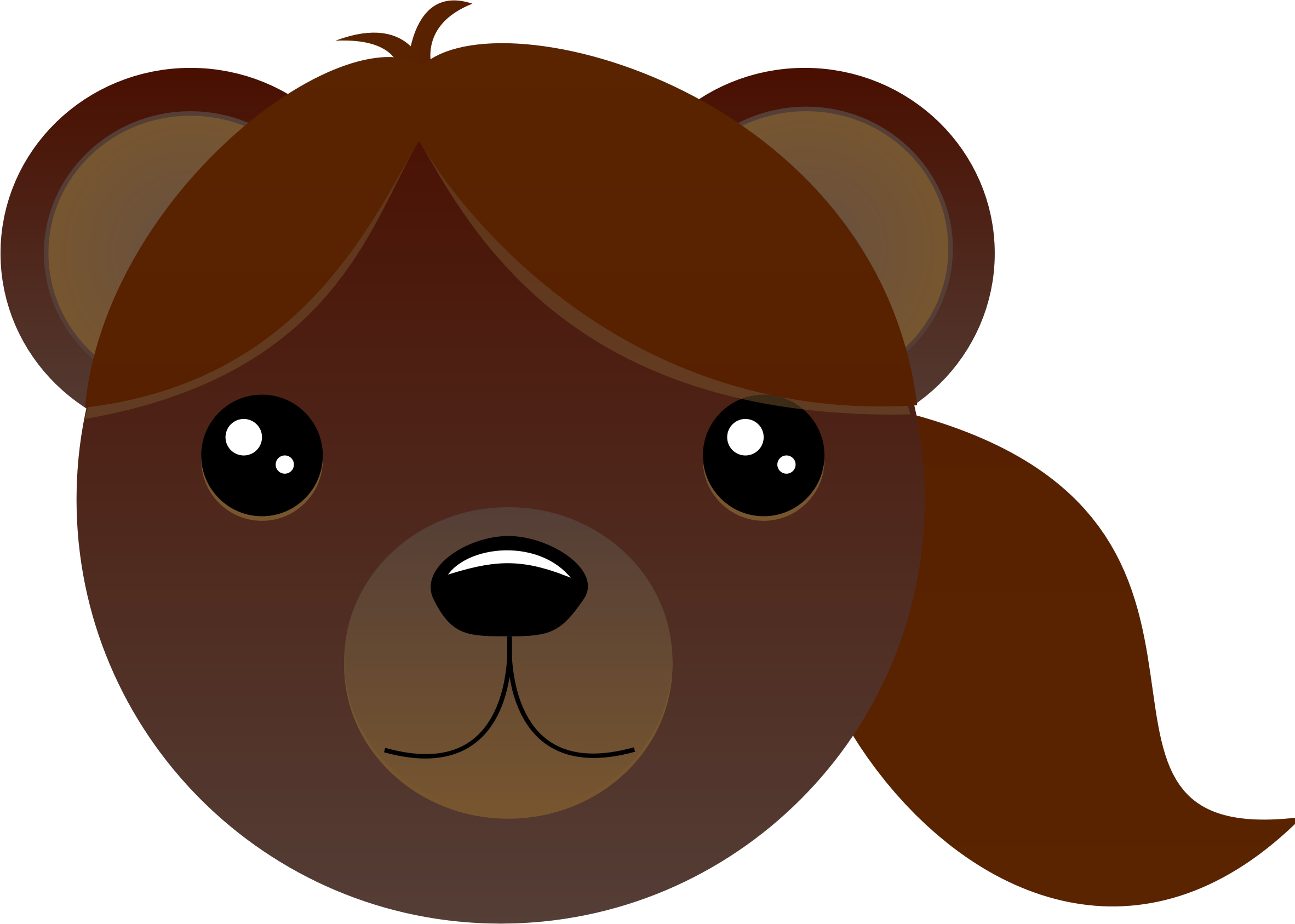 With pony tail big. Head clipart brown bear