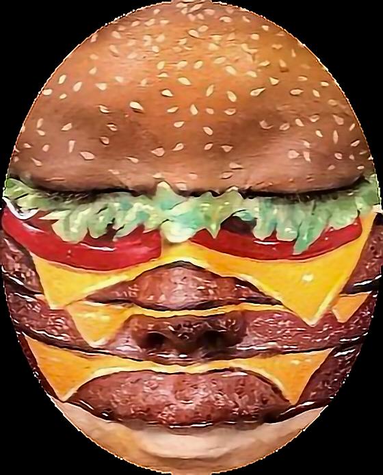 Face clipart burger. Burgerface mask ftestickersfreetoedit