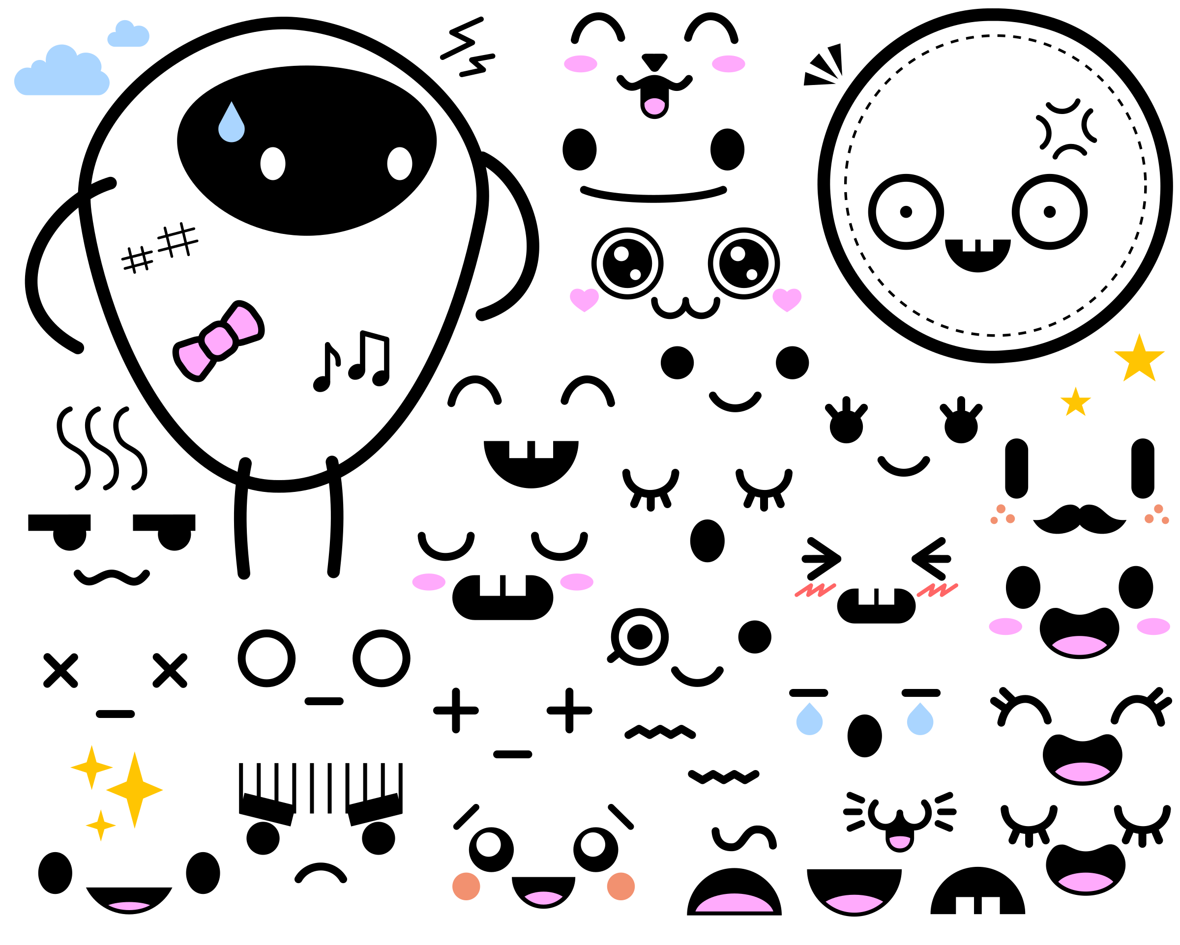 Japanese faces big image. Clipart face cute