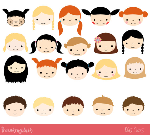 Cute faces set children. Race clipart proud kid