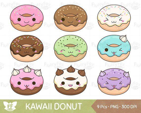 Desserts clipart face. Kawaii donut doughnut clip