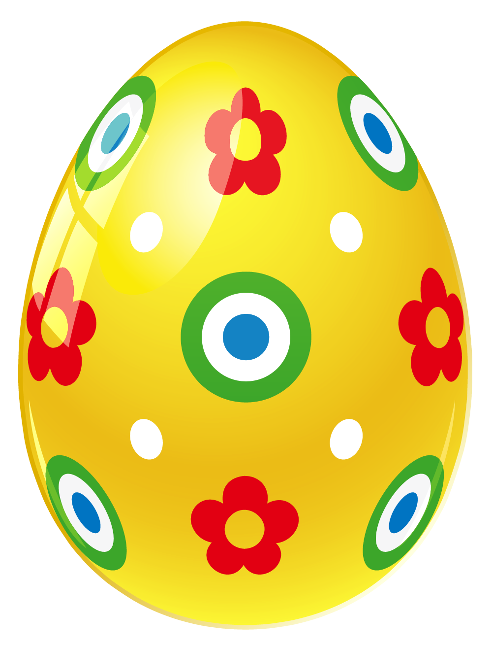 Yellow easter egg with. Face clipart flower