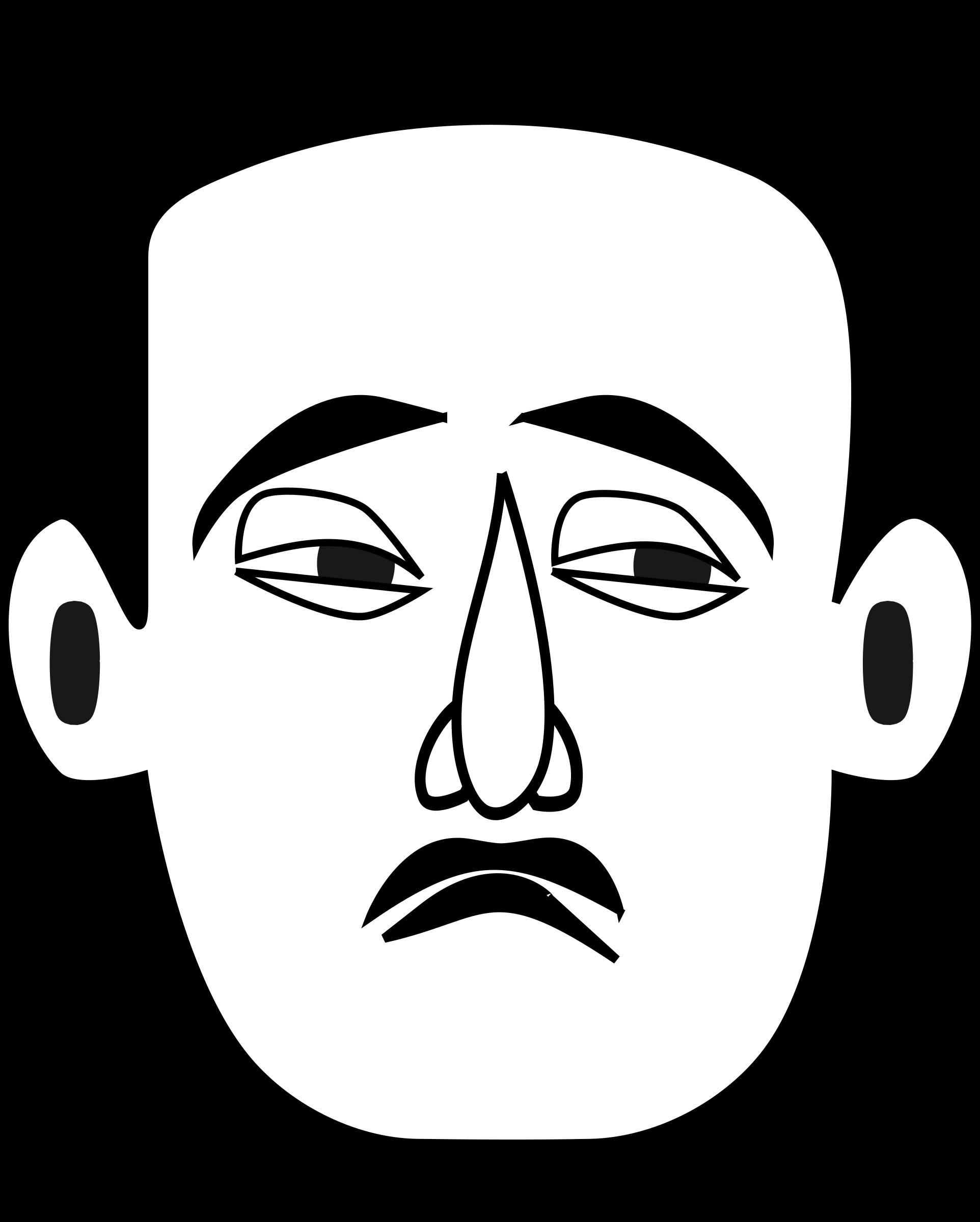 Face emotions big image. Eyebrow clipart sad