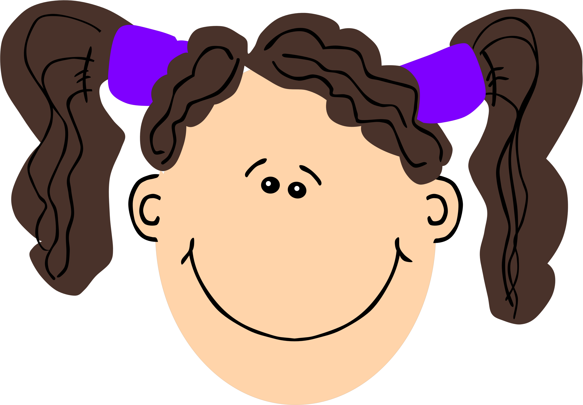 Girls clipart brown hair. Of a girl with