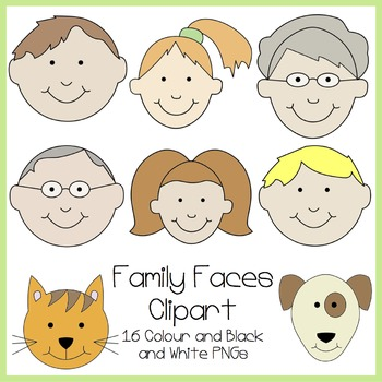 Faces . Face clipart family