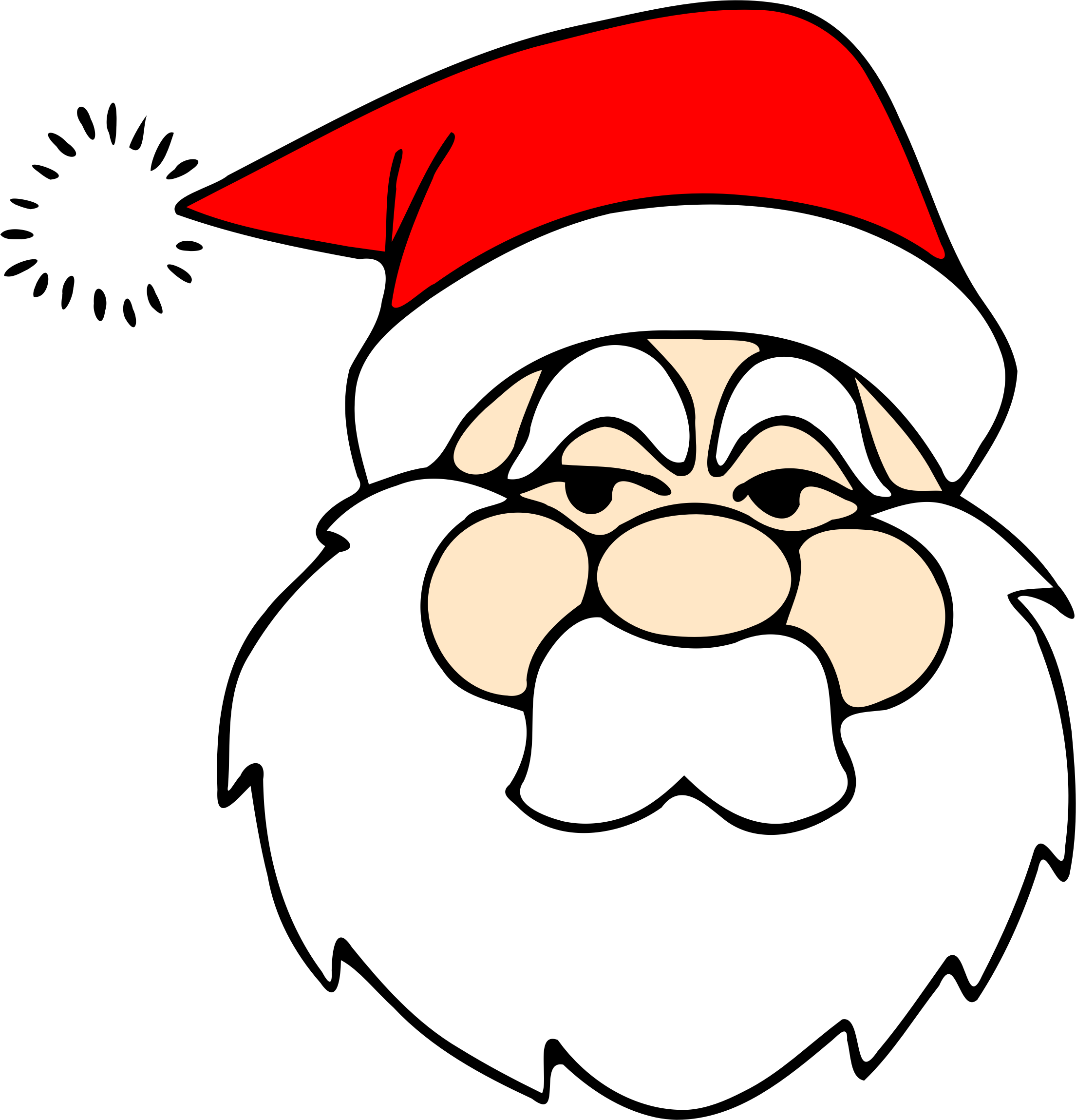 Drawing santa big image. Clipart face father