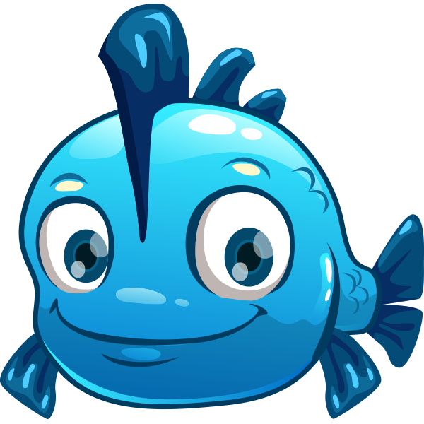 Blue animal icons icon. Fish clipart face