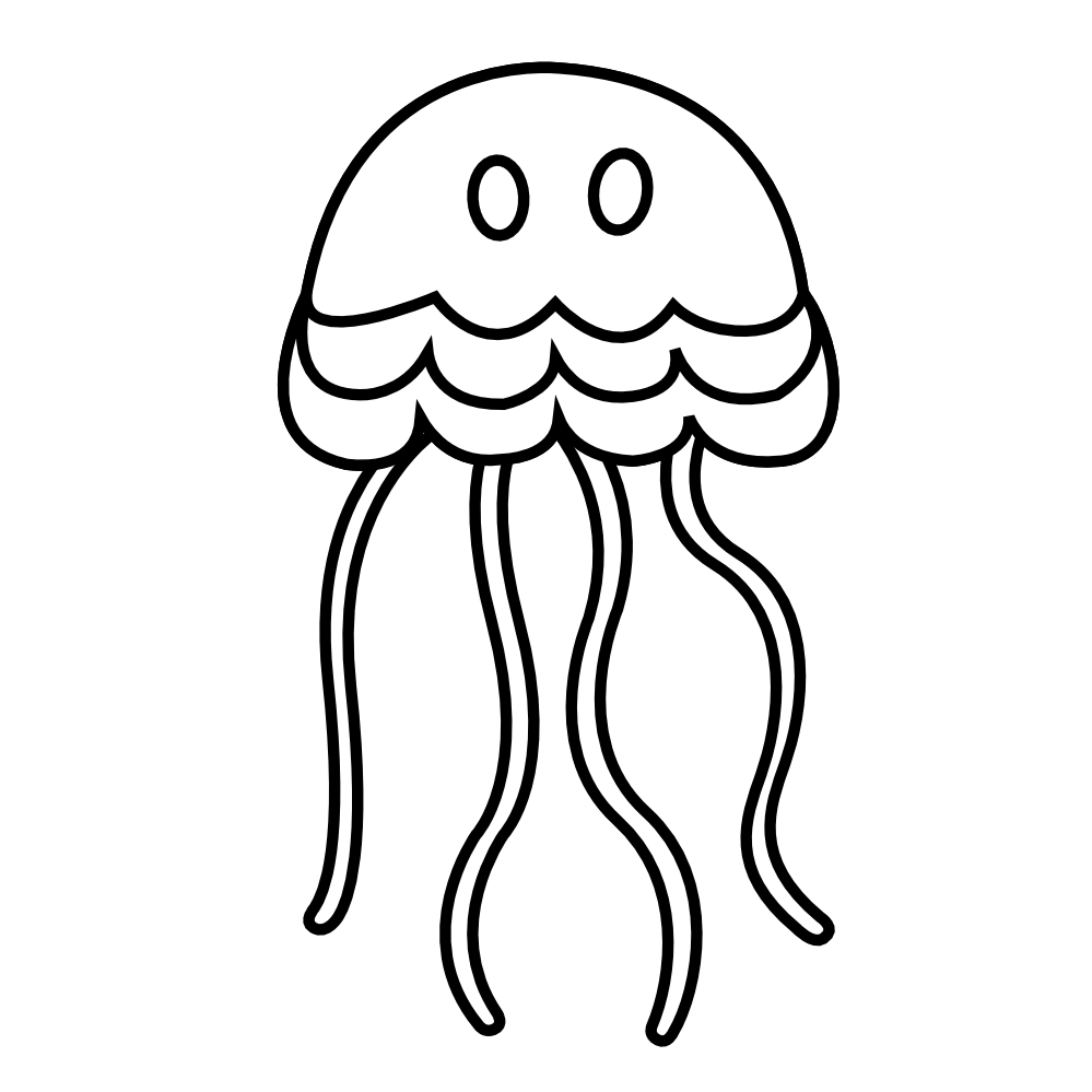 Shell clipart jellyfish. Fish black and white