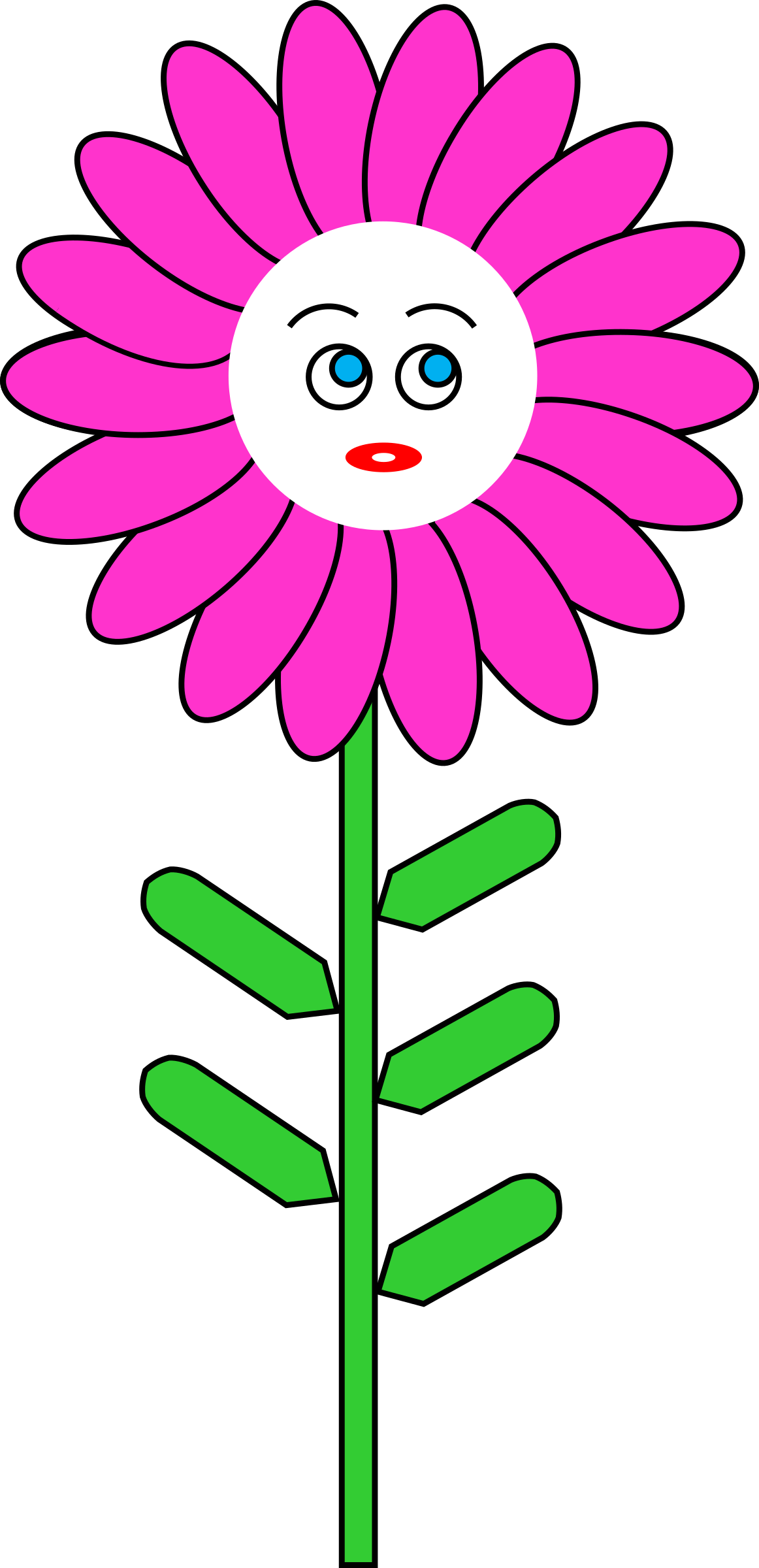 Face clipart flower. Magenta with big image