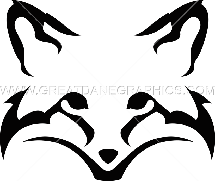 Silhouette clipart fox. Head production ready artwork