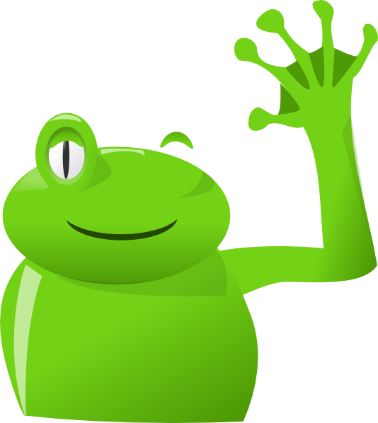 Hand clipart wave goodbye. Frog left clip art