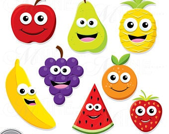 Fruits clipart smiley face. Happy fruit etsy