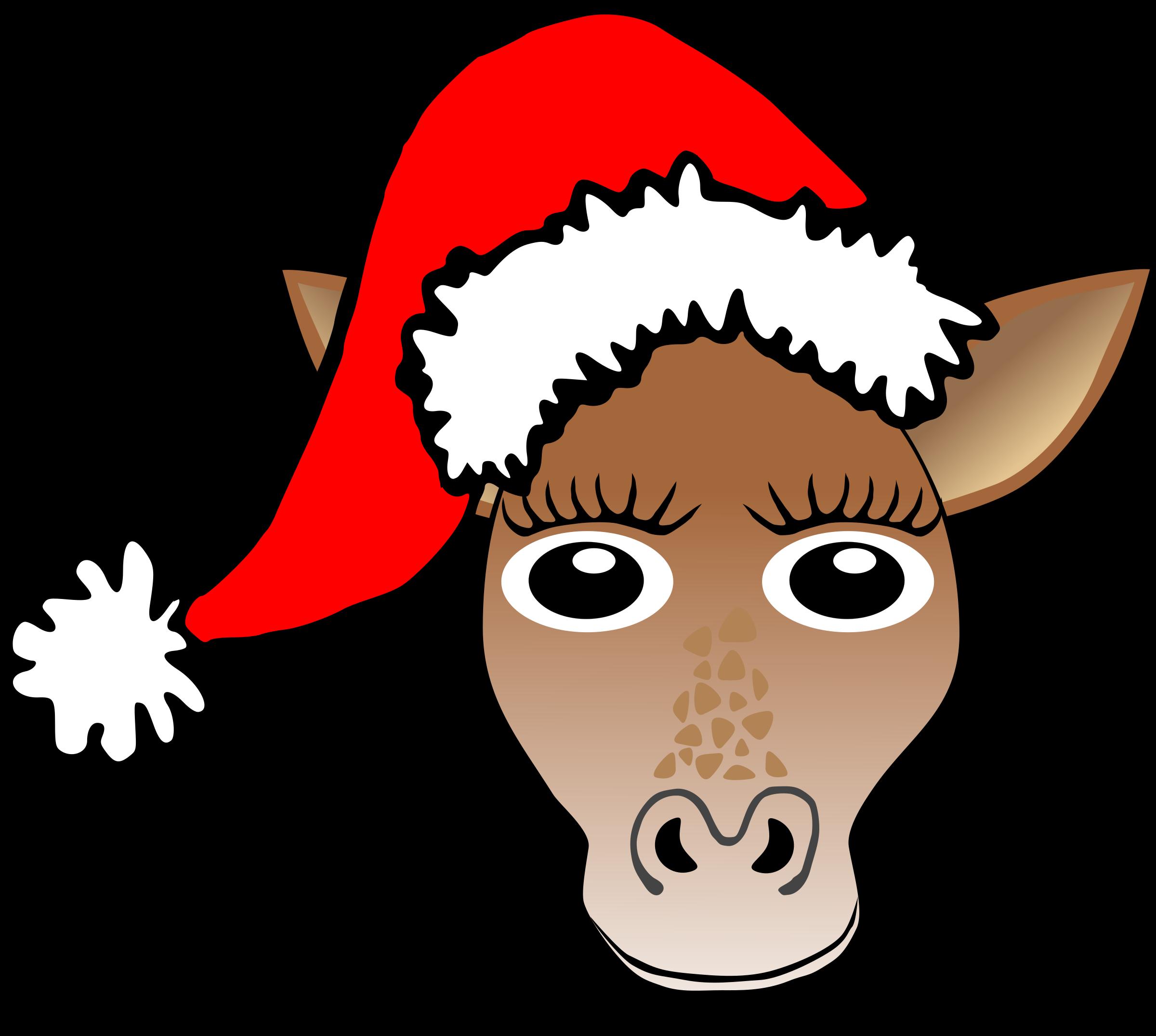 Santa clipart nose. Funny giraffe face cartoon