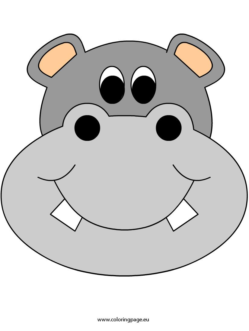 Hippo clipart mask. Face coloring fun crafts