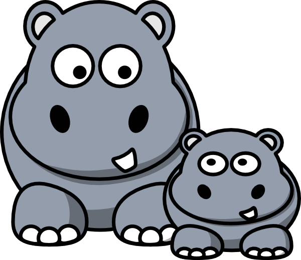 Hippo clipart simple. Hippopotamus christmas