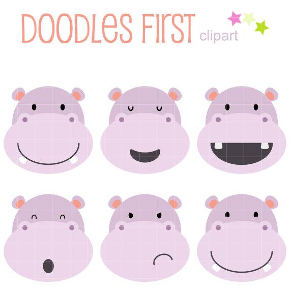 Hippo clipart face. Cute faces clip art