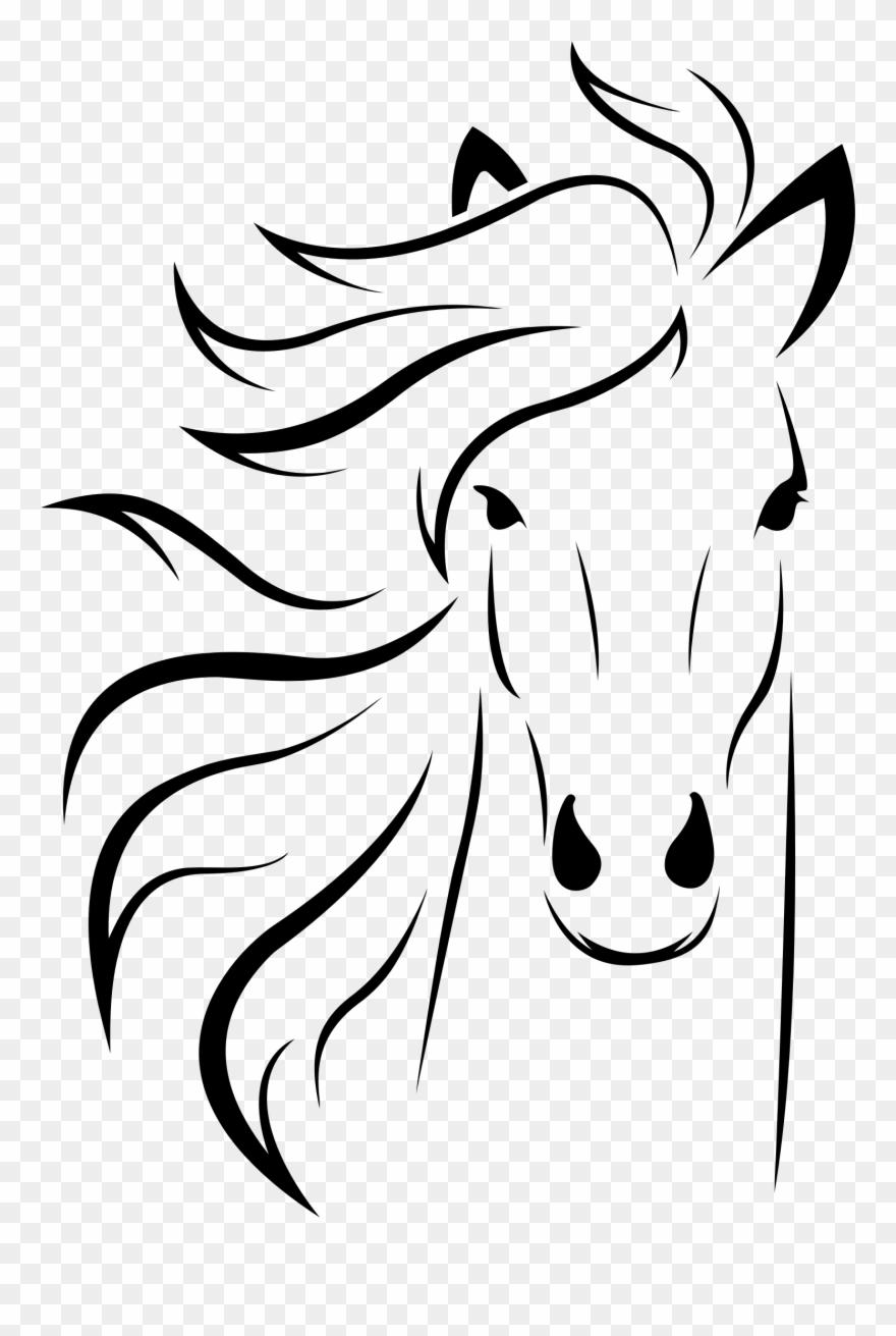 Face clip png download. Horse clipart line art