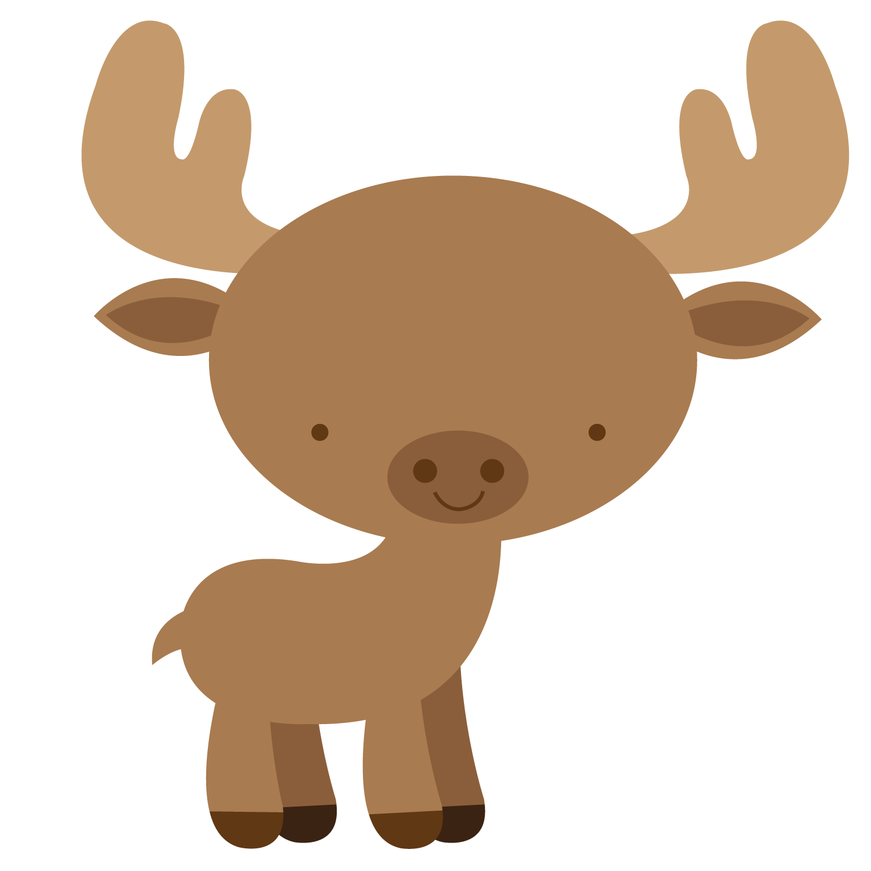 Floresta e safari png. Moose clipart woodland bear