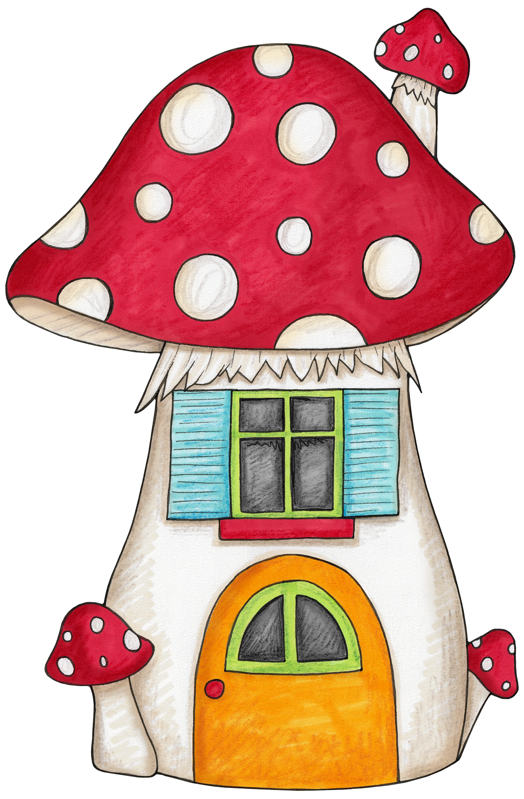Woodland clipart woodland character. Mushroom house for an