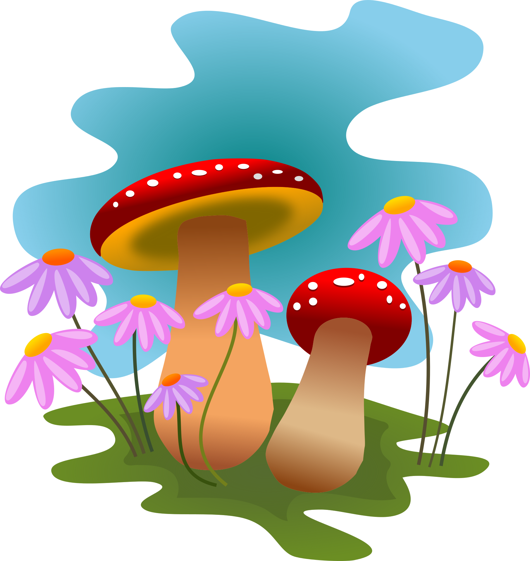 Fungi at getdrawings com. Mushrooms clipart cute sun cartoon