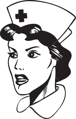 Nurse black and white. Nursing clipart face