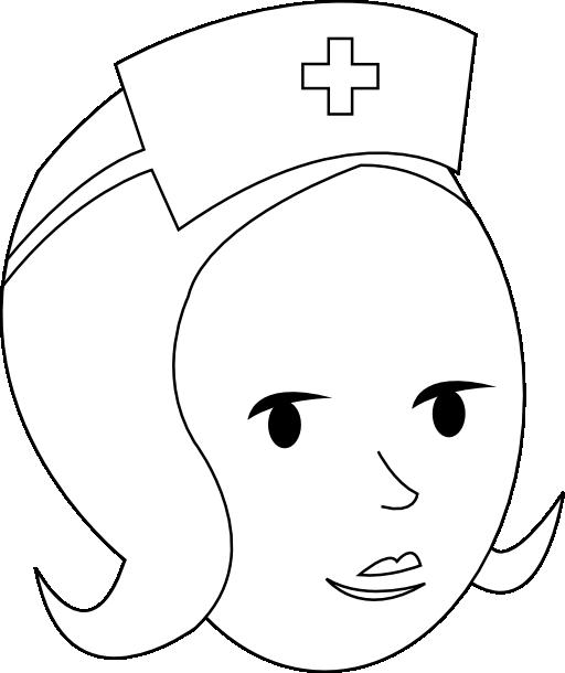 Face clipart nurse. Line art i royalty