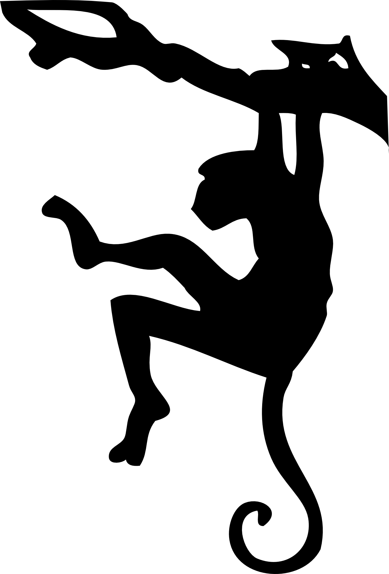 Monkey black and white. Clipart face orangutan