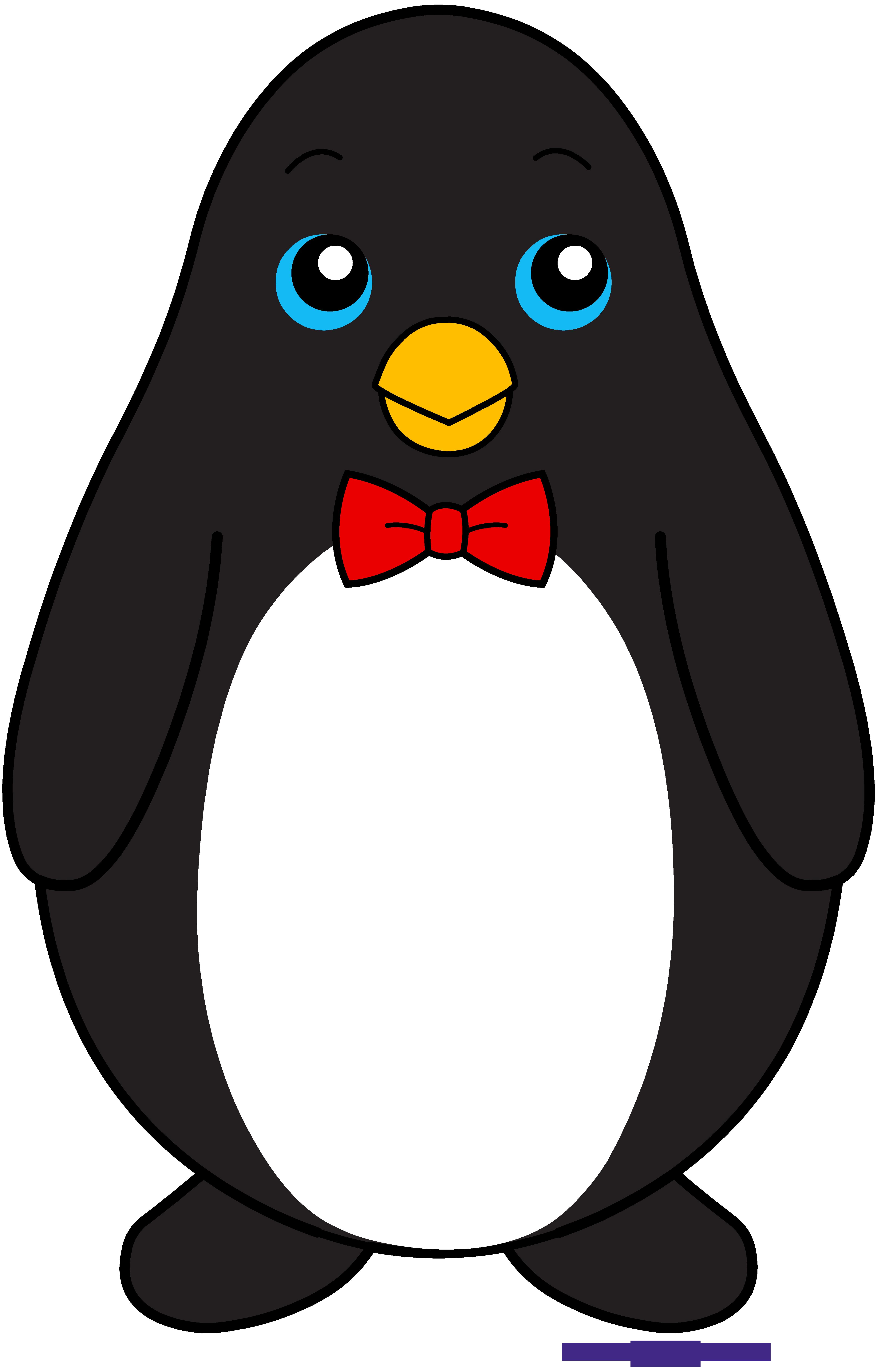 Bowtie black sweet clip. Clipart penguin easy