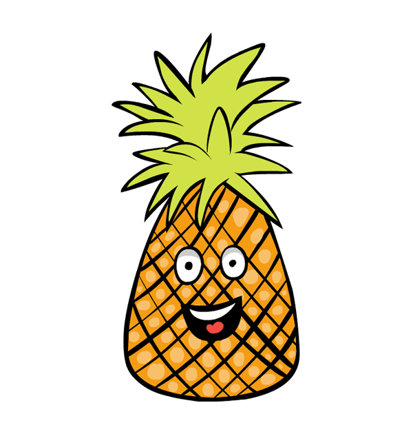 collection of funny. Happy clipart pineapple