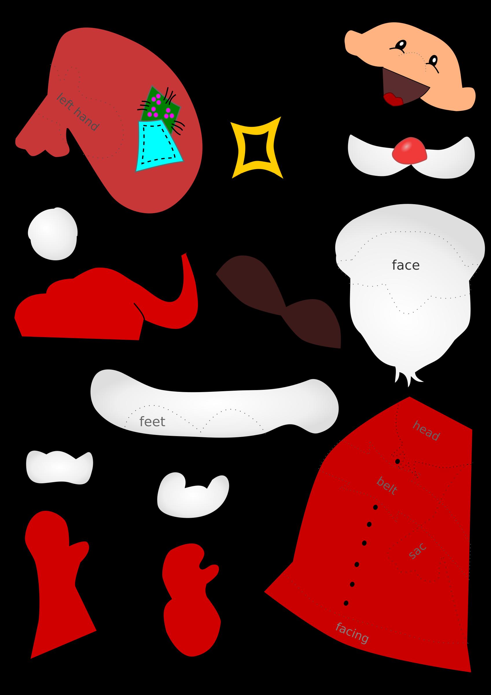 Santa claus handicraft sheet. Feet clipart coloured
