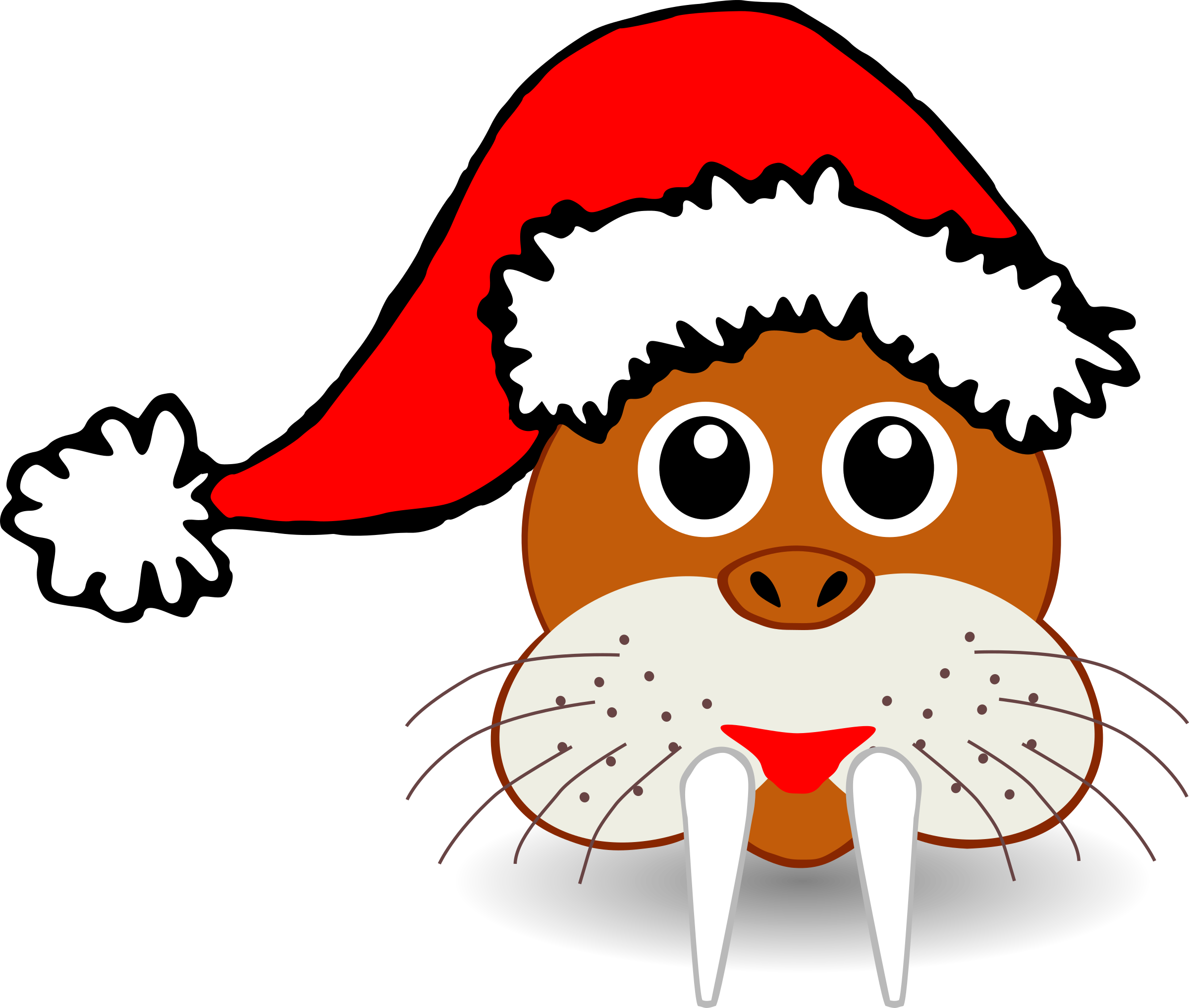 Face clipart santa claus. Funny walrus with hat