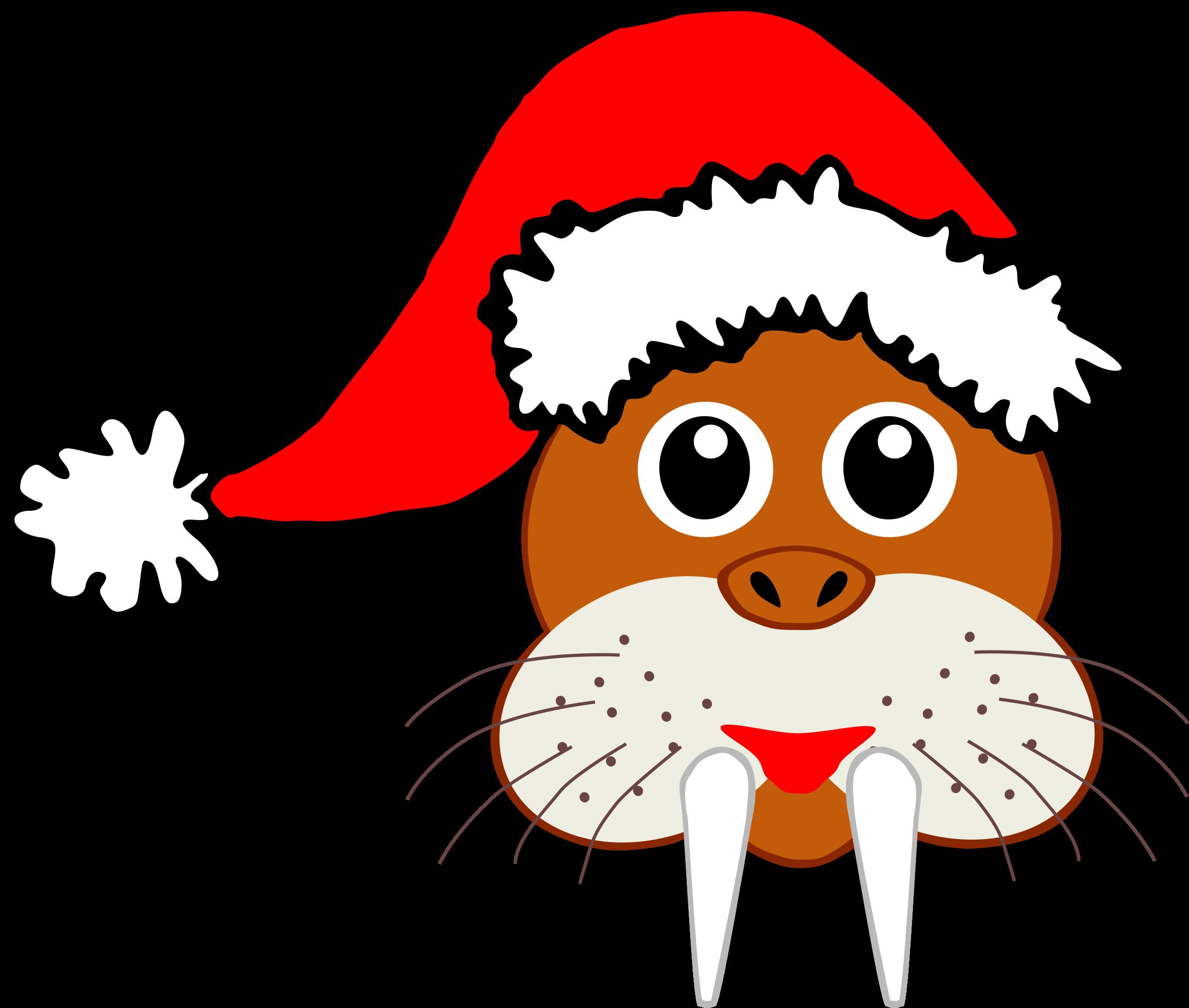 Funny face with santa. Walrus clipart clip art