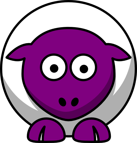 Sheep clipart purple. Looking straight white with