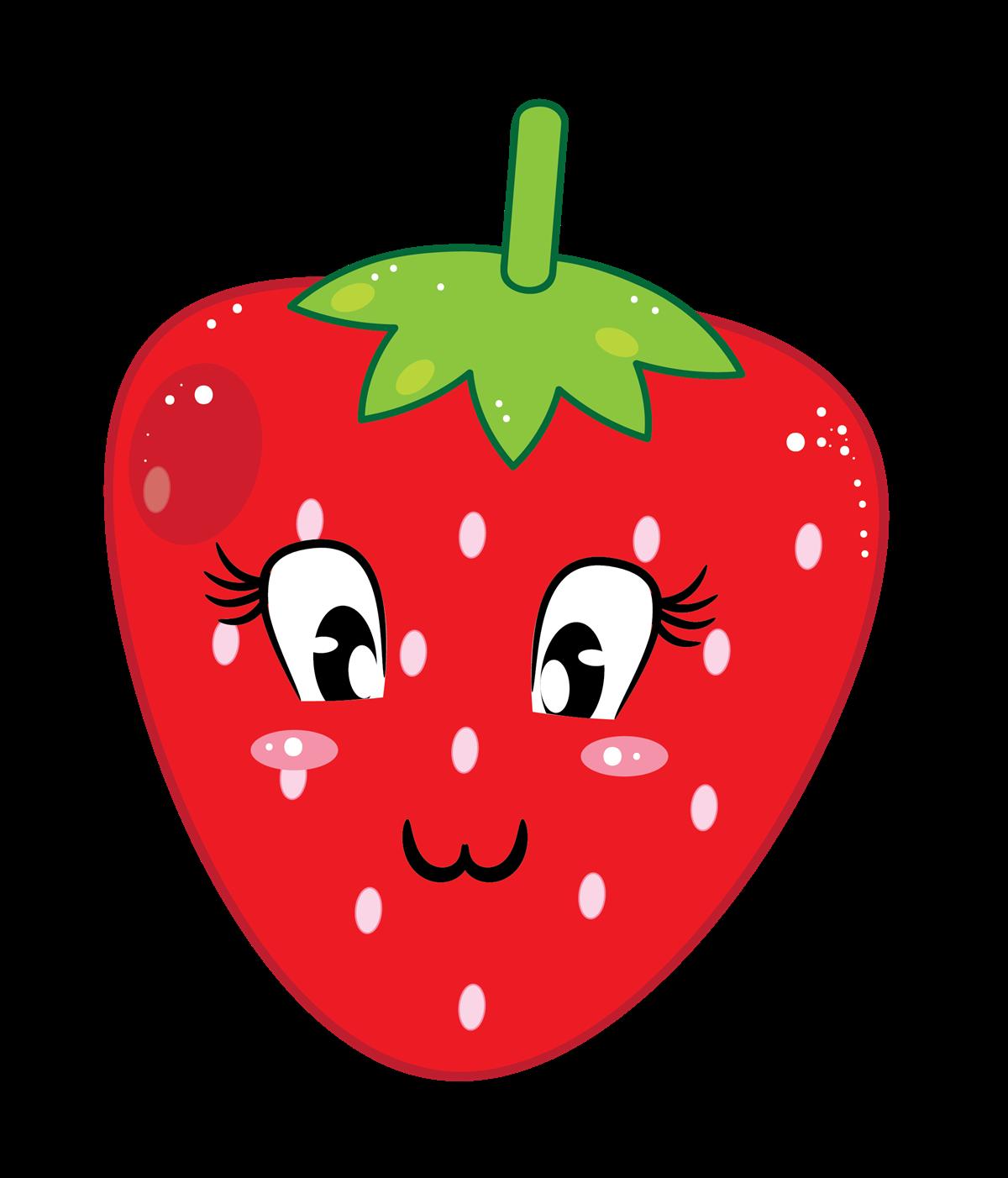 Strawberry fruit clip art. Fruits clipart cute