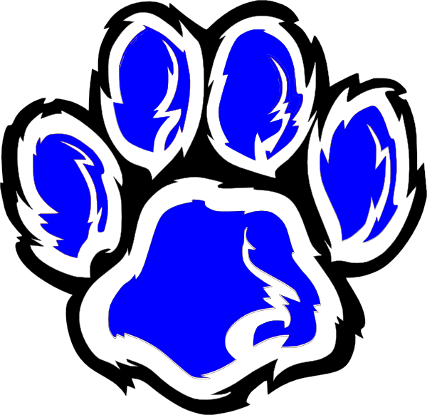 Paw clip art at. Wildcat clipart blue