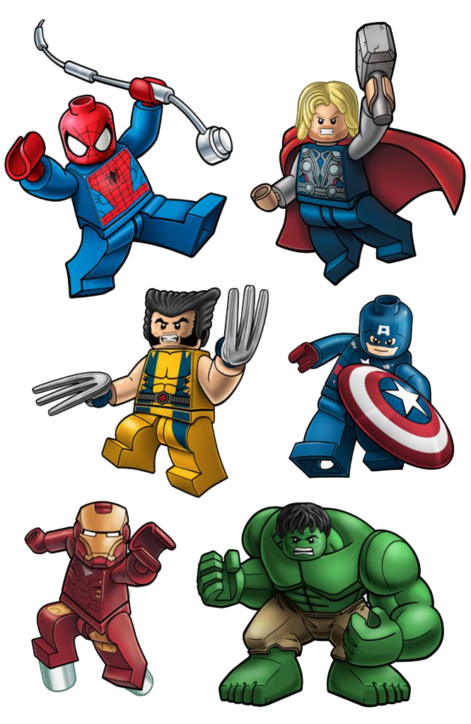 Deadpool clipart spiderman lego. Thor wolverine ironman hulk