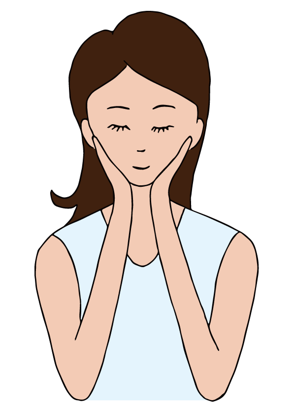 A woman touching her. Nose clipart touch nose