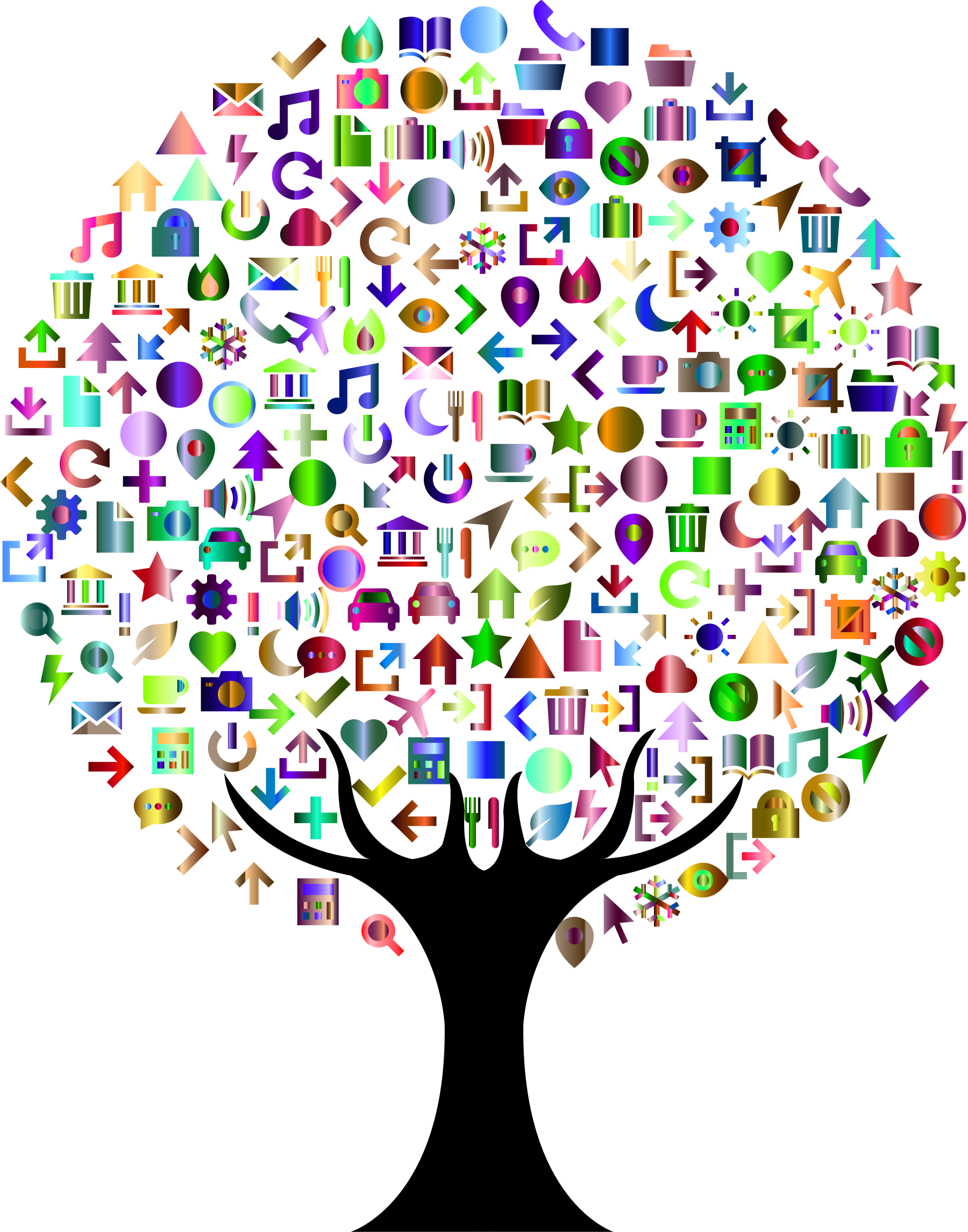 Dreaming clipart abstract. Icons tree prismatic big