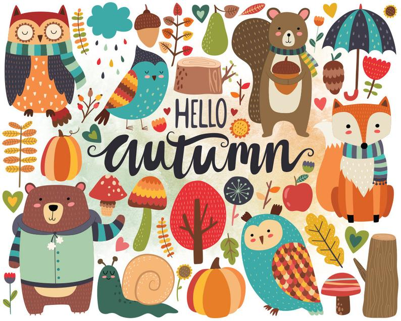 Woodland clip art cute. Fall clipart autumn sign