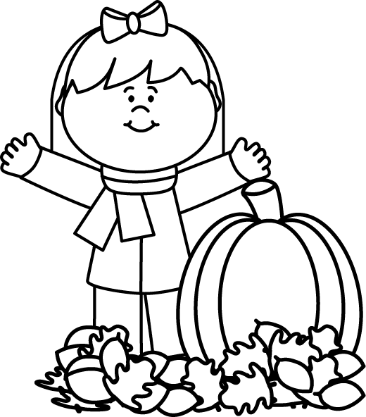 Pumpkin clipart black and white. Autumn girl preschool pinterest