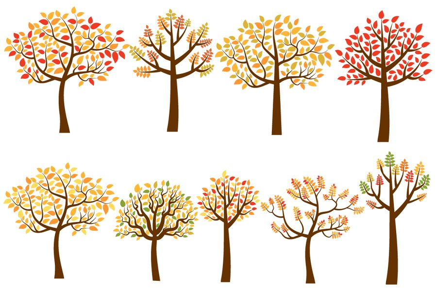 Clipart fall autumn tree. Yellow and red trees