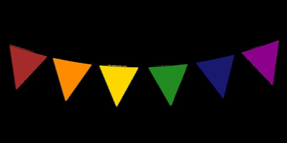 Triangle celebration banner pencil. Festival clipart bunting