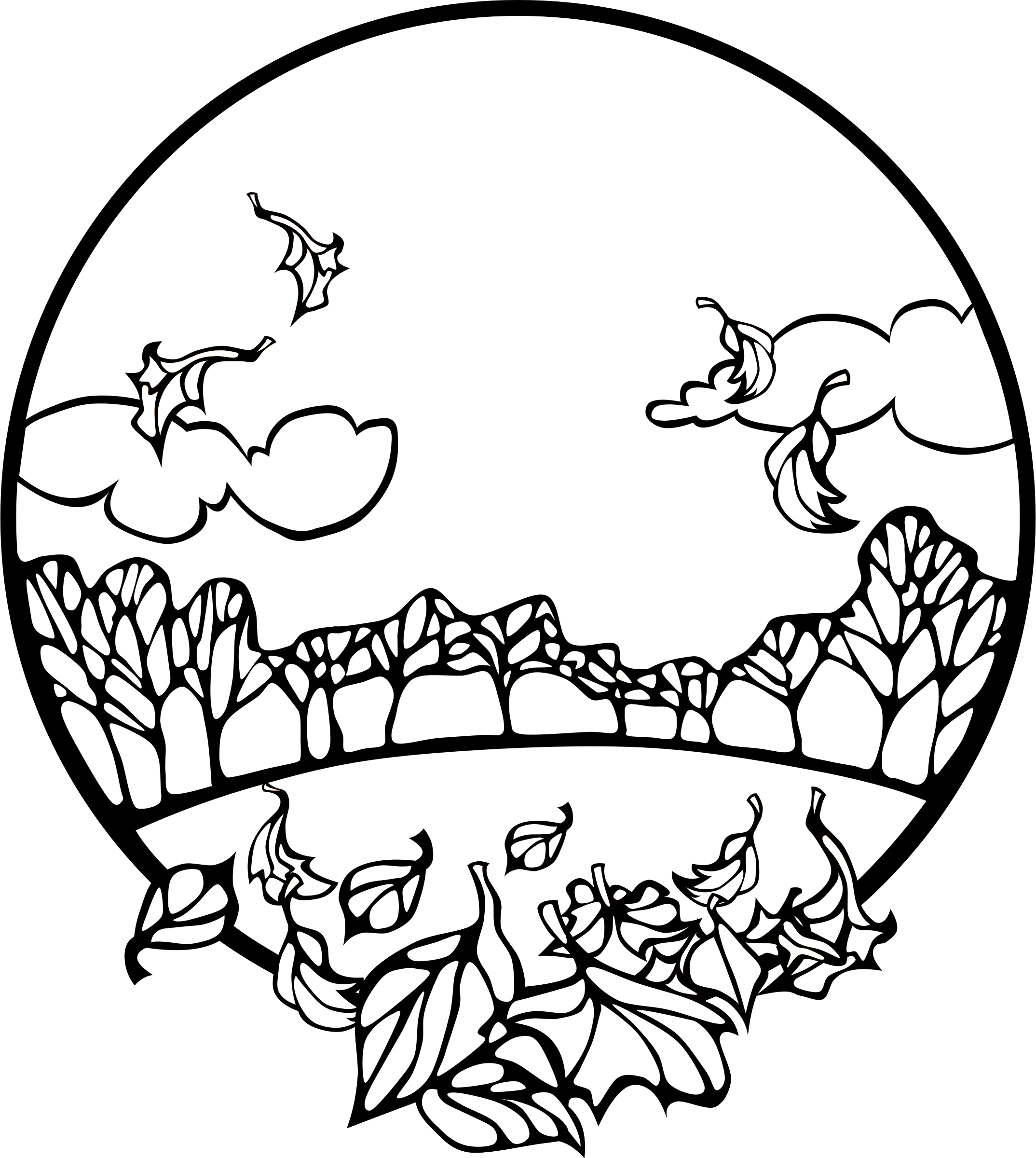 Scene coloring page big. Clipart fall black and white