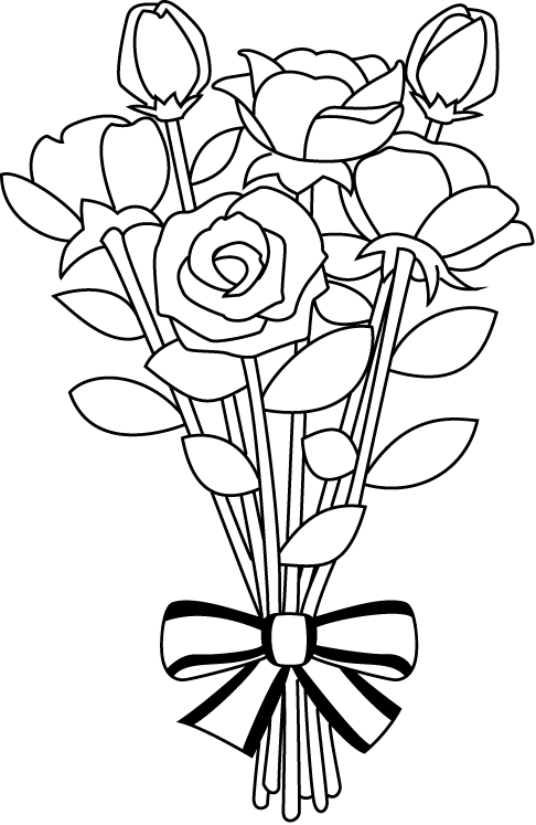 Clipart rose bucket. Wedding bouquet drawing at