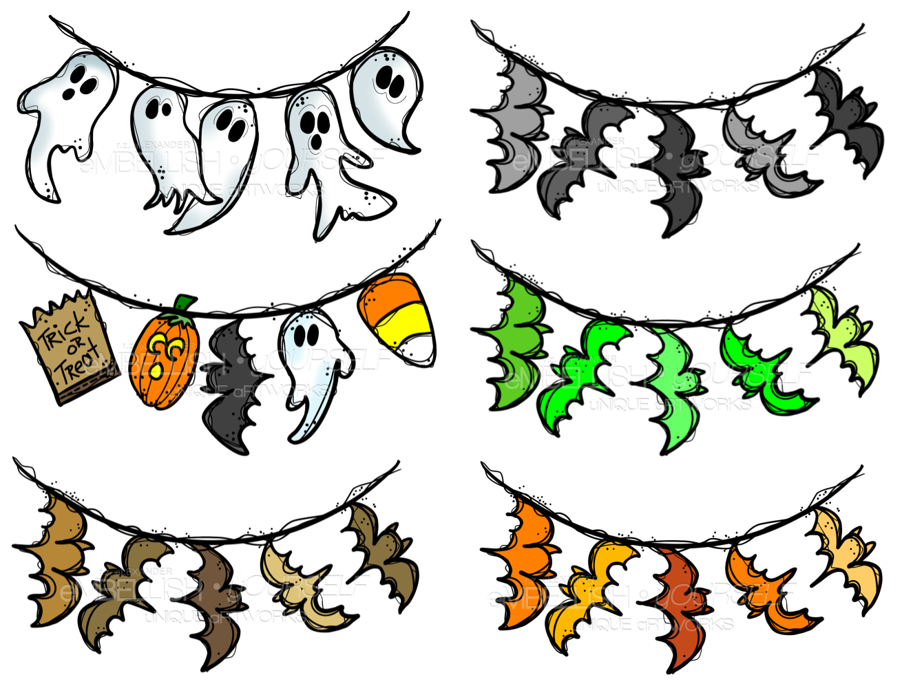 Clipart teacher halloween. Assorted bunting created by