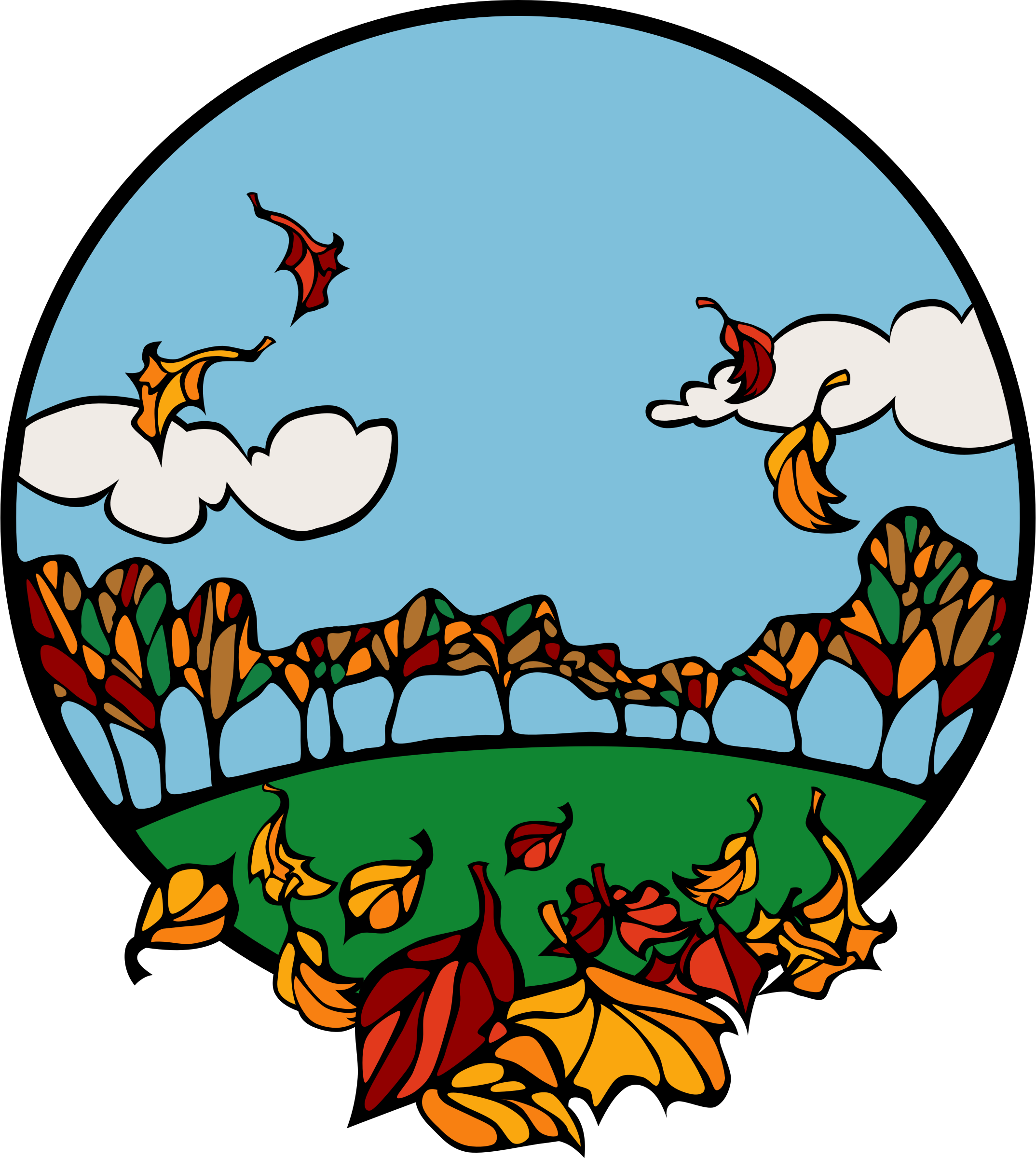 Scene in a circle. Clipart fall cartoon