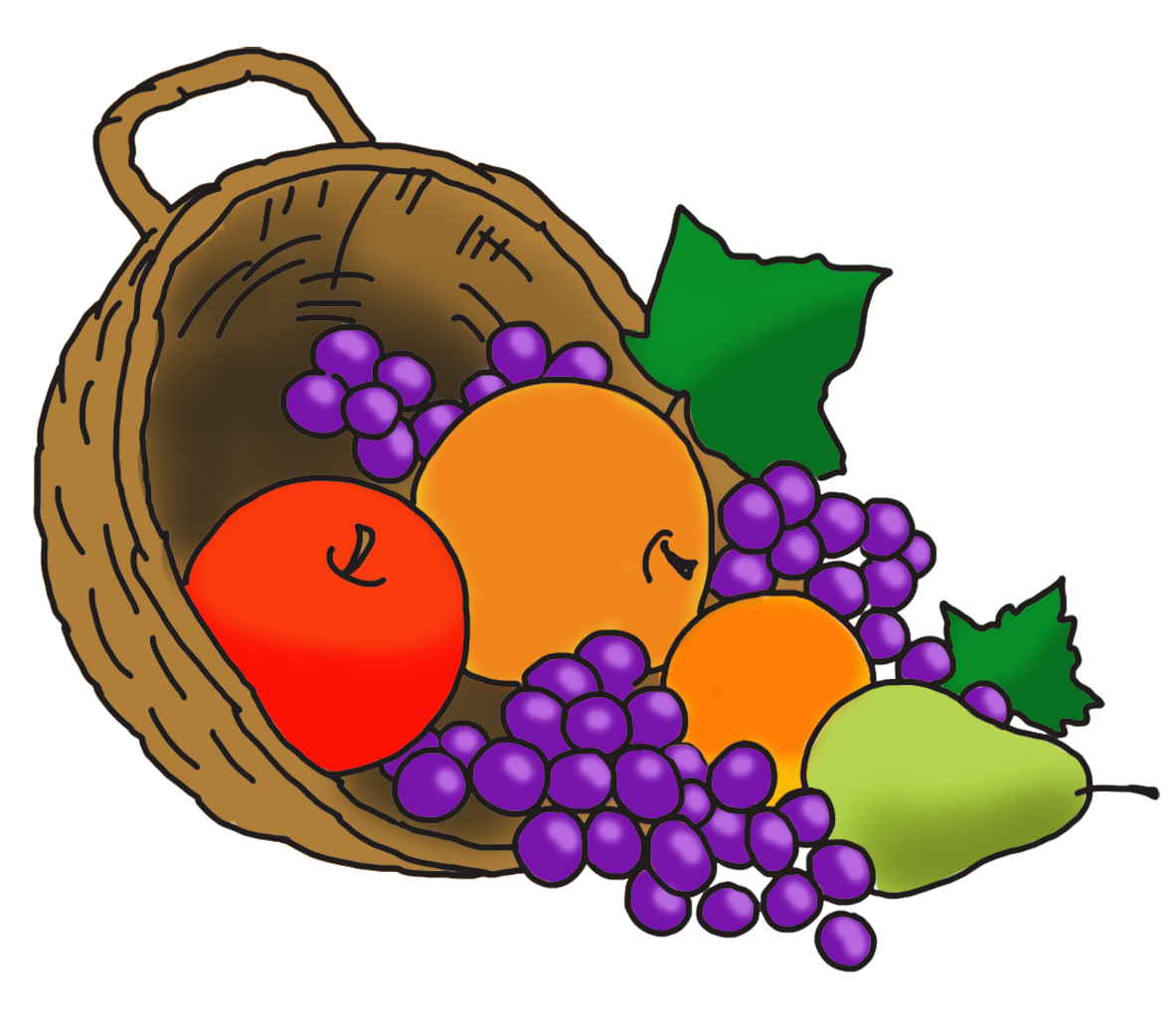 Grapes clipart autumn fruit. Happy thanksgiving cornucopia with