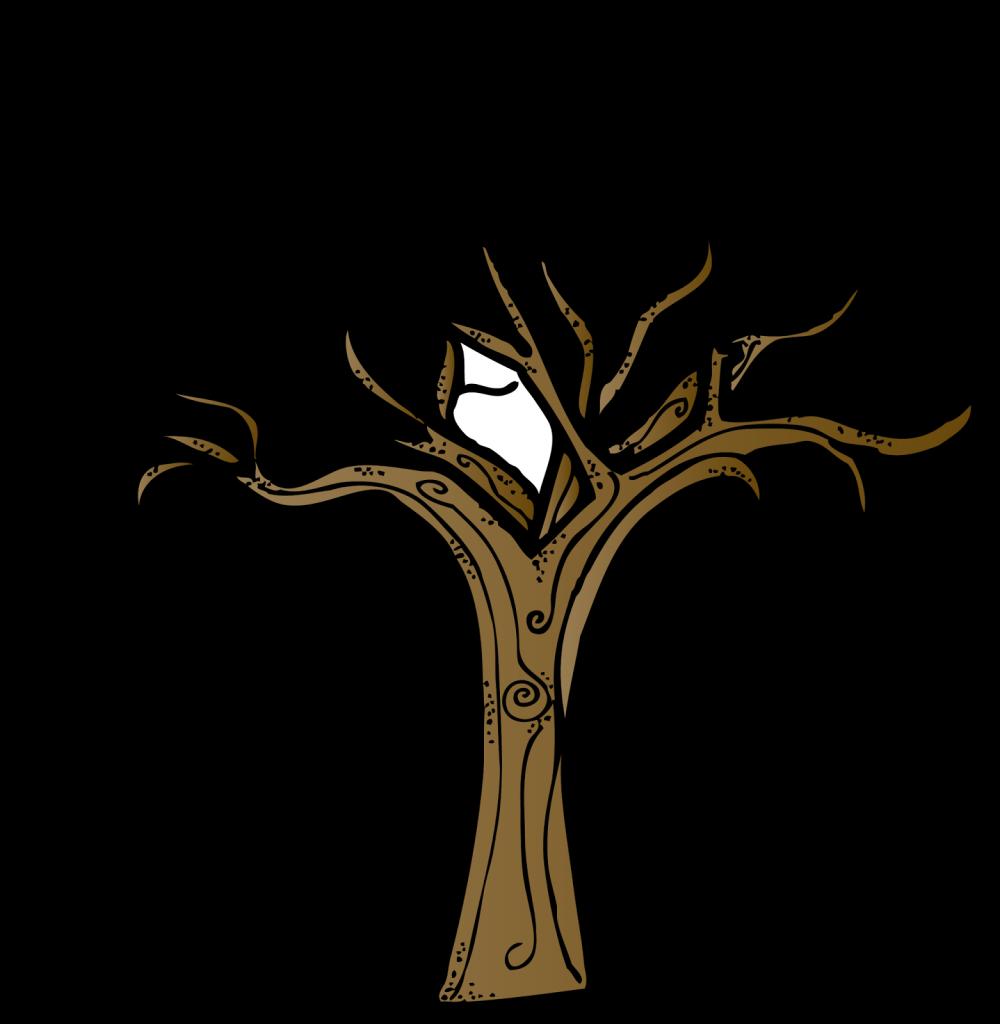 Bare oak tree silhouette. Clipart trees dead