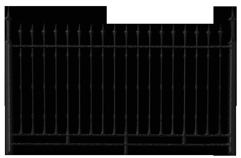 Transparent black iron fence. Gate clipart metal bar